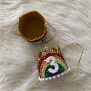 Little Blue Olive Accessories - Rainbow Glitter 3rd Birthday Crowns Set Of 2